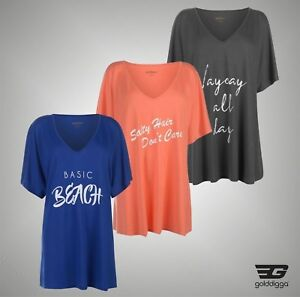 Ladies-Golddigga-Loose-Fit-Slogan-T-Shirt-V-Neck-Top-Sizes-from-8-to-18