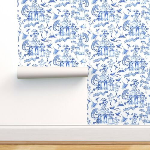 Removable Water-Activated Wallpaper Watercolor Chinoiserie Blue Monkey Kids
