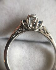 Lovely 3 Stone 14K white gold Diamond & Sapphire Filigree Scroll Engagement Ring