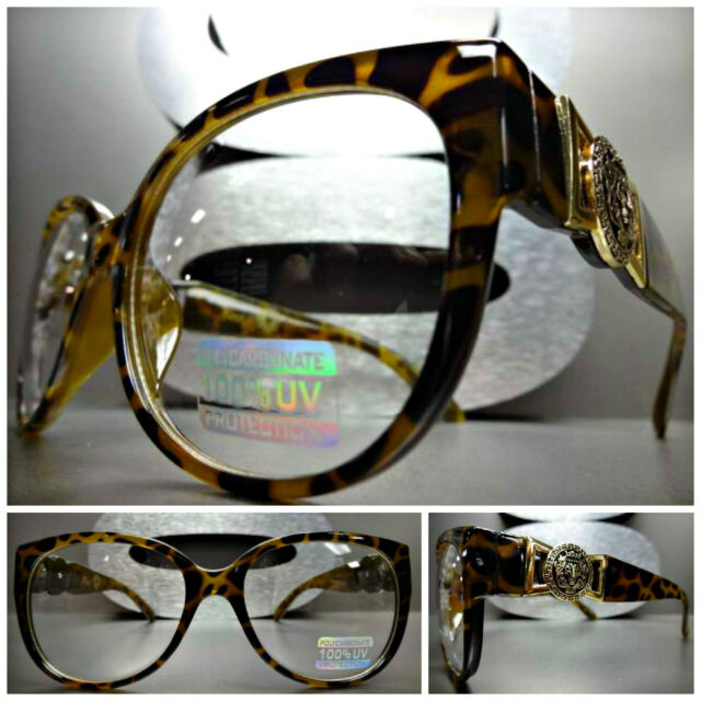 Mens or Women CLASSIC VINTAGE RETRO Clear Lens EYE GLASSES Tortoise & Gold Frame