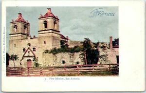 San-Antonio-Texas-Postcard-034-First-Mission-034-Building-View-Frank-Thayer-c1900s