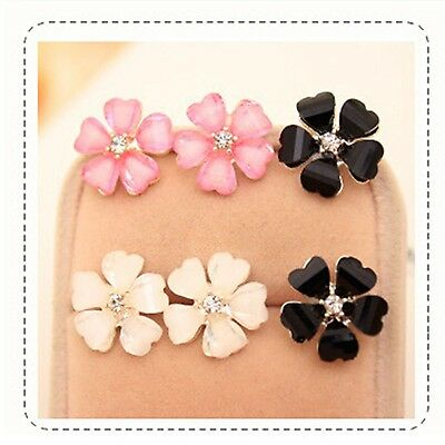 Fashion Women Silver Plated Flower Crystal Rhinestone Ear Stud Earrings 1 pair