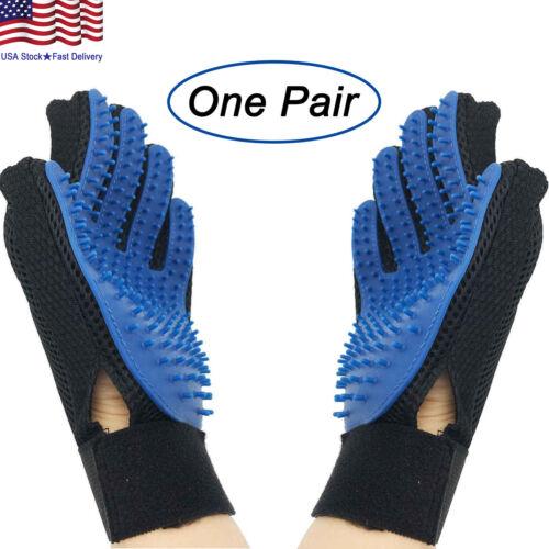 Pet Grooming Gloves Brush Dog Cat Hair Remover Mitt Massage Deshedding 1 Pair US