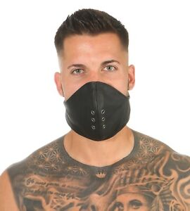 "Gesicht Wind Schutz Leder Maske ""Hanibal"" Schwarz BDSM Bondage ®leder-joe  Mask"