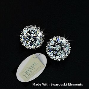 Genuine-Swarovski-Crystals-White-Gold-Plated-Stud-Solitaire-Earrings-New-in-Box