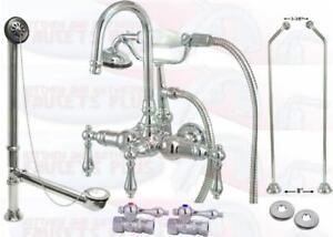 Details About Chrome Clawfoot Tub Faucet Drain Supplies Stops Kit