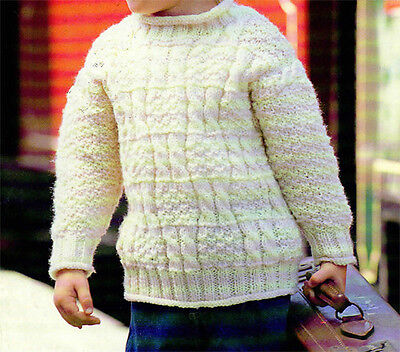 "Knitting Pattern- Childs Box Cable Aran Sweater- fits chest 20-28"" Winter wooly"