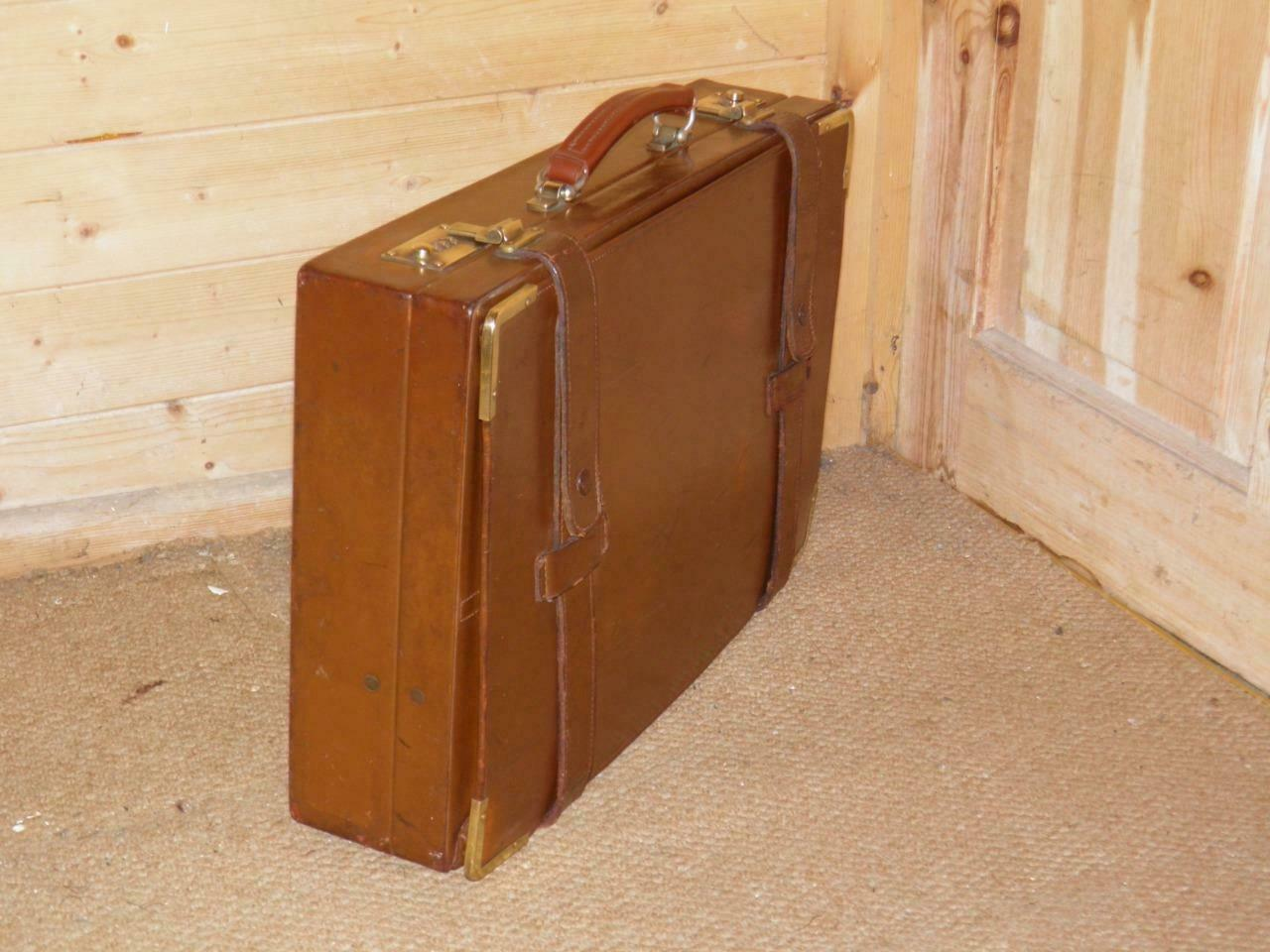 Vintage SWAINE ADENEY BRIGG Brown Leather Briefcase With Metal Combination Locks