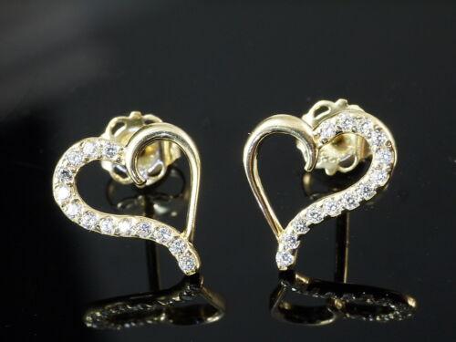 333 oro corazón pendientes 1 par de 10 mm con 28 gefassten circonita piedras