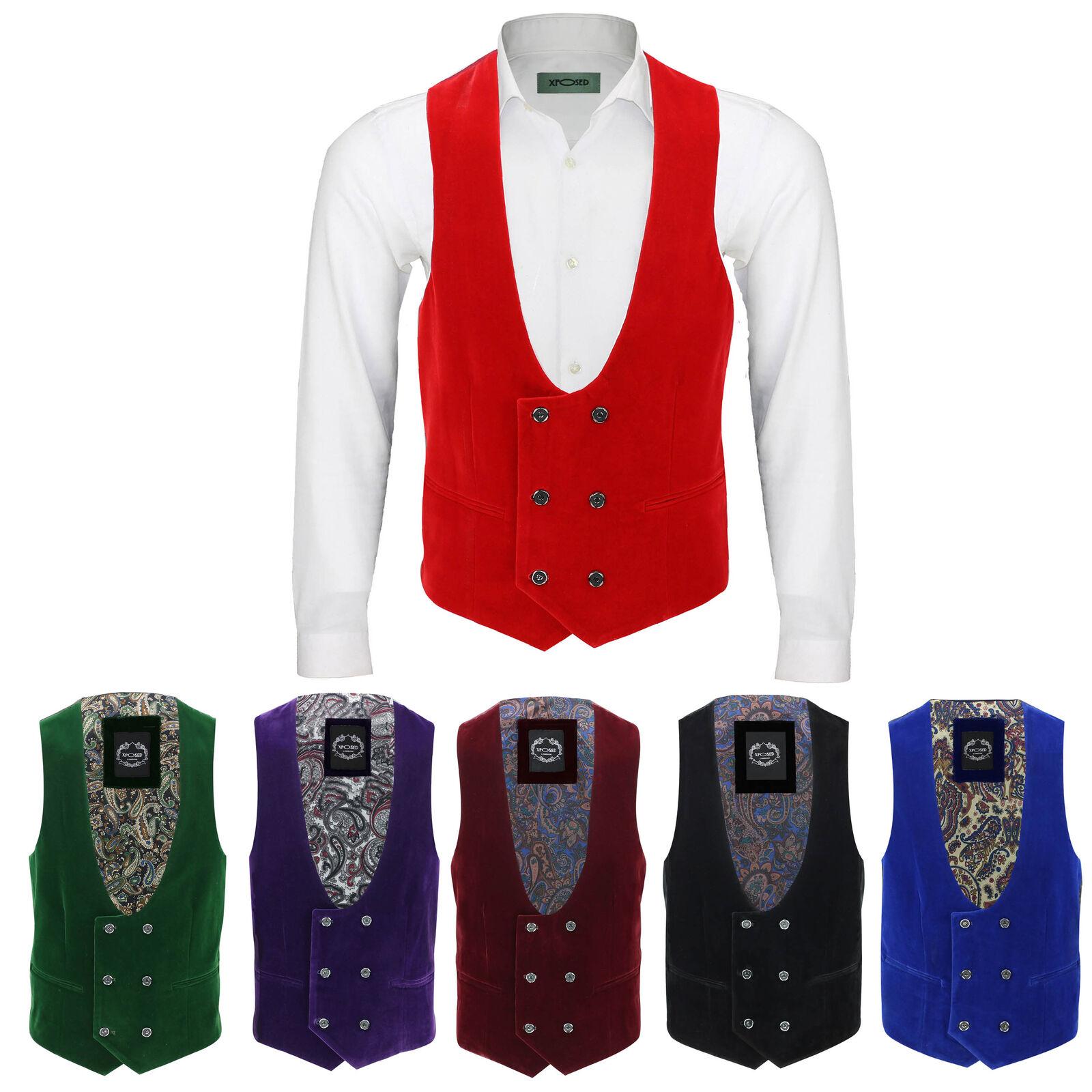 Men's Vintage Velvet Double Breasted Tux Suit Waistcoat Low U Cut Slim Fit Vest