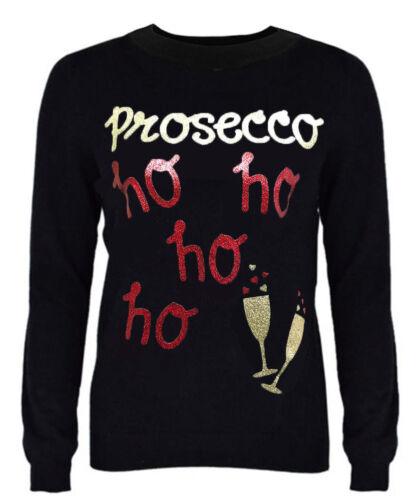 """Womens Xmas Jumper /""""Prosecco ho ho ho/"""" Novelty New Ladies Xmas Sweater"""