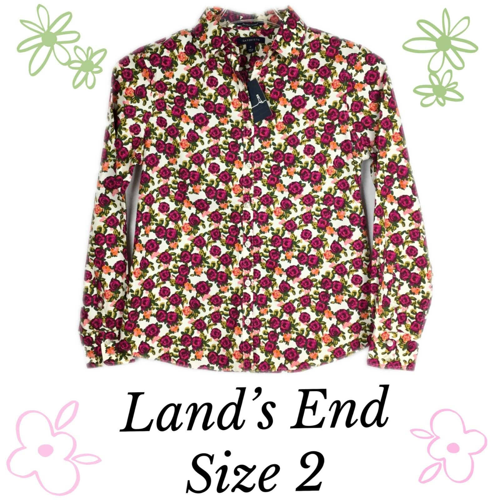 Lands End No Iron Supima Floral Womens Long Sleeve Shirt Size 2 Ebay