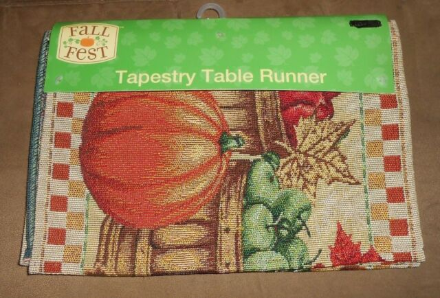 Delicieux Fall Fest Pumpkin Tapestry Table Runner 2 Placemats Thanksgiving