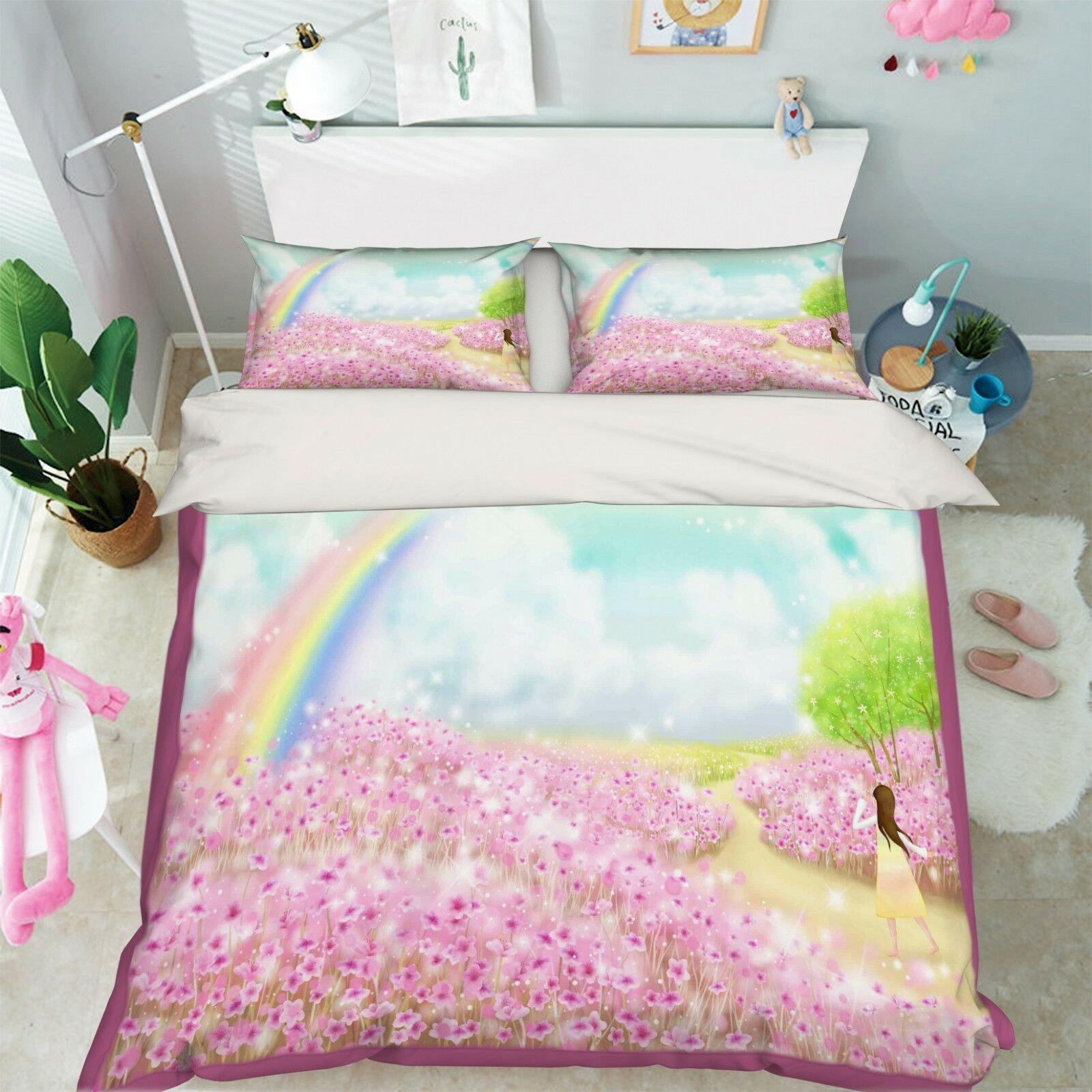 3D Rainbow Flower 76 Bed Pillowcases Quilt Duvet Cover Set Single King UK Summer