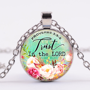 Trust in the Lord, Proverbs 3:5,Cabochon Glass Tibet Silver Pendant Necklace