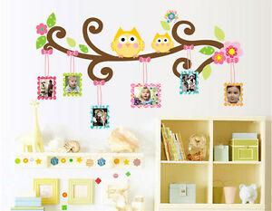 Large Owl Tree Branch Photo Frames Wall Decal Removable Wall - Wall decals kids roomowl tree branch photo frames wall decal removable wall stickers