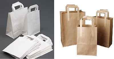 Paper Carrier Bags White Brown SOS Kraft Takeaway Party Lunch Food Flat Handles