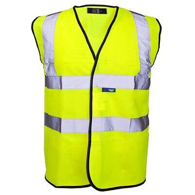 HI VIZ VIS VISIBILITY SECURITY WORK VEST TWO TONE SAFETY WAISTCOAT COLOURS SIZES