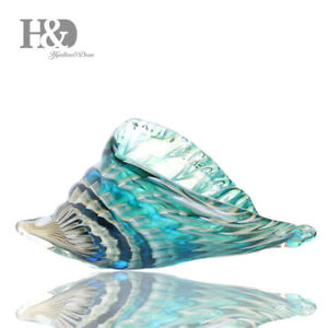 Hand-Blown-Glass-Murano-Art-Style-Seashell-Conch-Sculpture-Ocean-Multi-color