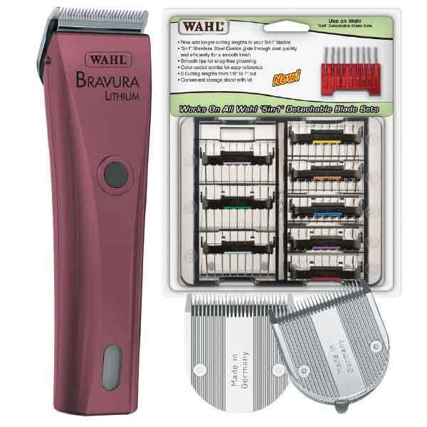 Bravura Lithium Ion  rosa  Clipper 8 Piece Kit Inc 5 in 1 Attachment Comb Set