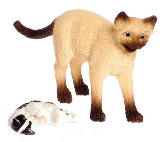 Dolls House Siamese Mother Cat /& Her Kitten Falcon Miniature Accessory