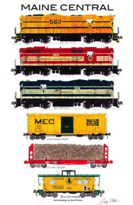 Maine-Central-Freight-Train-11-034-x17-034-Railroad-Poster-by-Andy-Fletcher-signed