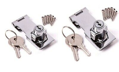 Hasp Lock Staple Security Key Locking Heavy Duty Chrome Shed Door Gate Cabinet