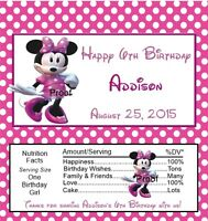 15 Minnie Mouse Pinkdress Birthday Candy Bar Wrappers Favors