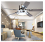"""52/"""" Remote Control LED Ceiling Fan Lamp Stainless Steel Blade Chandelier Fixture"""