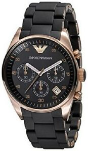 NEW-EMPORIO-ARMANI-ROSE-GOLD-BLACK-DIAL-CHRONOGRAPH-LADIES-WATCH-AR5906
