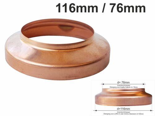 Kupfer Standrohrkappe 116 x 76mm