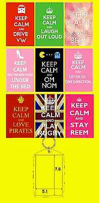 KEEP CALM VARIETY KEYRING MUM SHOES LOL 1D REEM PIRATES VW PAC MAN OM NOM RUGBY