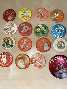 Vintage Hallmark Cards Buttons With Pinback Lot Of 16