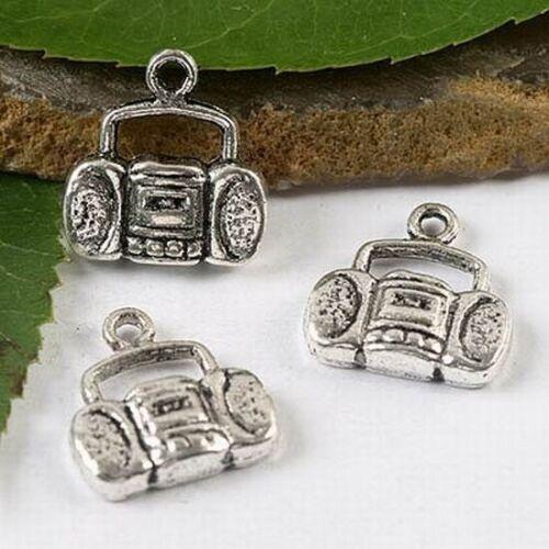 """6pcs Tibetan Silver /""""Boom Box/"""" Charms h1736"""