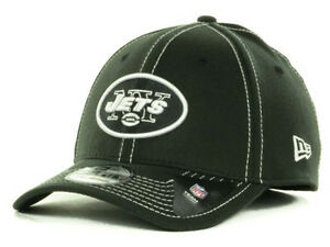 New York Jets Black   White All Pro New Era 39Thirty NFL Fitted Hat ... 3a8a12a8cce5