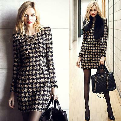 Women's Autumn Winter Warm Slim Long Sleeve Plaid  Evening Party Cocktail Dress