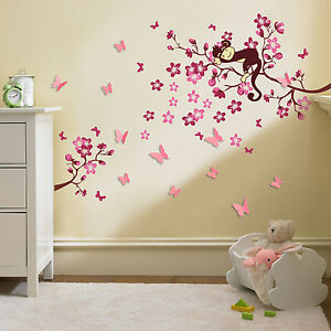 Huge 3d butterfly pink flower wall stickers children nursery decals image is loading huge 3d butterfly pink flower wall stickers children mightylinksfo