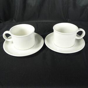 Midwinter-Stonehenge-White-Tea-Coffee-Cup-amp-Saucer-Wedgwood-Group-England-MCM
