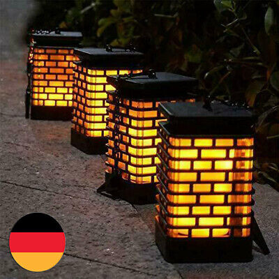 2//4er Solarleuchte Solar Laterne Garten Flackernde Flammenlampe Deko 99LED Licht