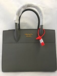 c4fd433ca20e Image is loading PRADA-Bibliotheque-Saffiano-Accordion-Tote-Bag-Grey-White
