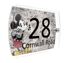 Mickey House Number Sign Plaque Glass Effect Acrylic Door Wall #D67