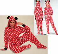 Disney Minnie Mouse Adult 1pc Costume Pjs Fleece Hooded Footed Pajamas Ears
