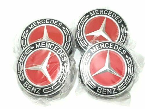 für Alle 4x Mercedes Benz Leichtmetall Radkappen 75mm Kennzeichen Rot Hub Logo
