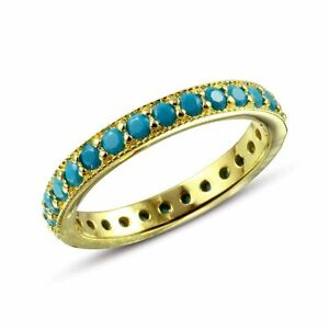 ETERNITY-RING-W-TURQUOISE-SZ-5-9-14K-YELLOW-GOLD-OVER-925-STERLING-SILVER