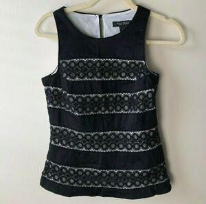 White-House-Black-Market-WHBM-Women-039-s-Sleeveless-Top-Size-0-Lined-Black-Lace