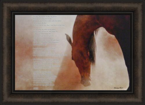 THE HORSE/'S PRAYER by Barry Hart 16x22 Horse Inspirational FRAMED PICTURE HCD