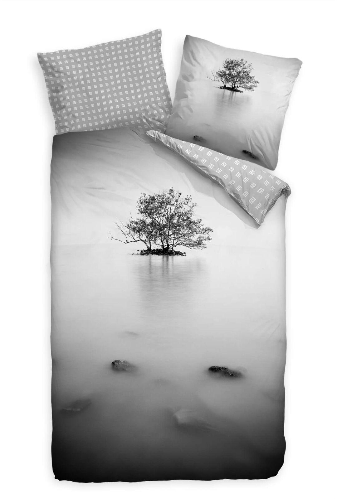 Baum Schwarzweiss Insel  Bettwäsche Set 135x200 cm + 80x80cm  Atmungsaktiv