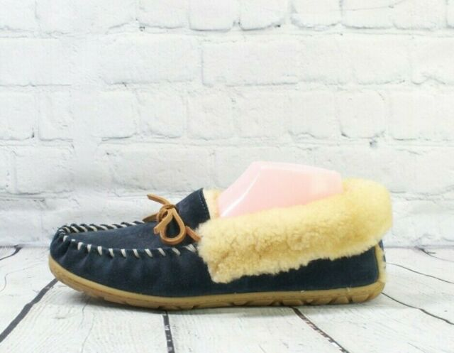 LL BEAN Women's Blue Suede Shearling Lined Wicked Good Moccasin Slipper Size 9 M