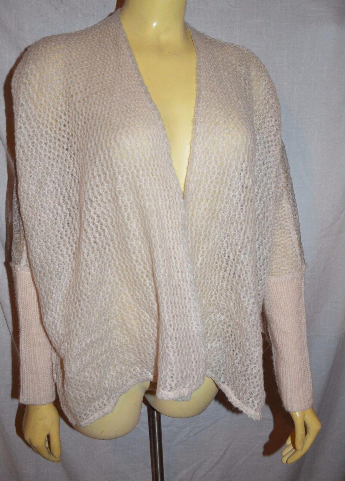 FREE PEOPLE Lace Crocheted Wool Alpaca knit  Cardigan Sweater XS oversized