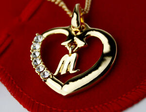 Image Is Loading Name Necklace Initial Love Heart Pendant Letter M